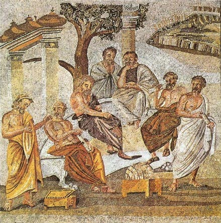 Mosaic from Pompeii, identified as Plato's Academy.  Anyone know what that thing on the floor in the middle is?  I was there with a gaggle of classicists and we were clueless.