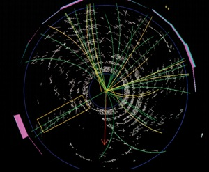This image from Fermilab is not letting us see the particle, but a computer image of instruments tracings of the residual energies related to the passage of what might be a particle.