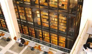 The gorgeous central book stack of the British Library