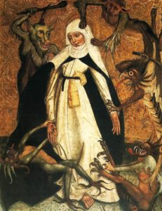 Catherine resists temptation by demons, a very classic thing for both mystics AND male monk saints.