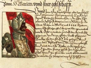 Check out this manuscript depiction of Sir Morien. St. Augustine is another figure whose skin tone is fascinating to observe as illustrators change it over the centuries, sometimes making im pale and blonde, sometimes deep deep African.