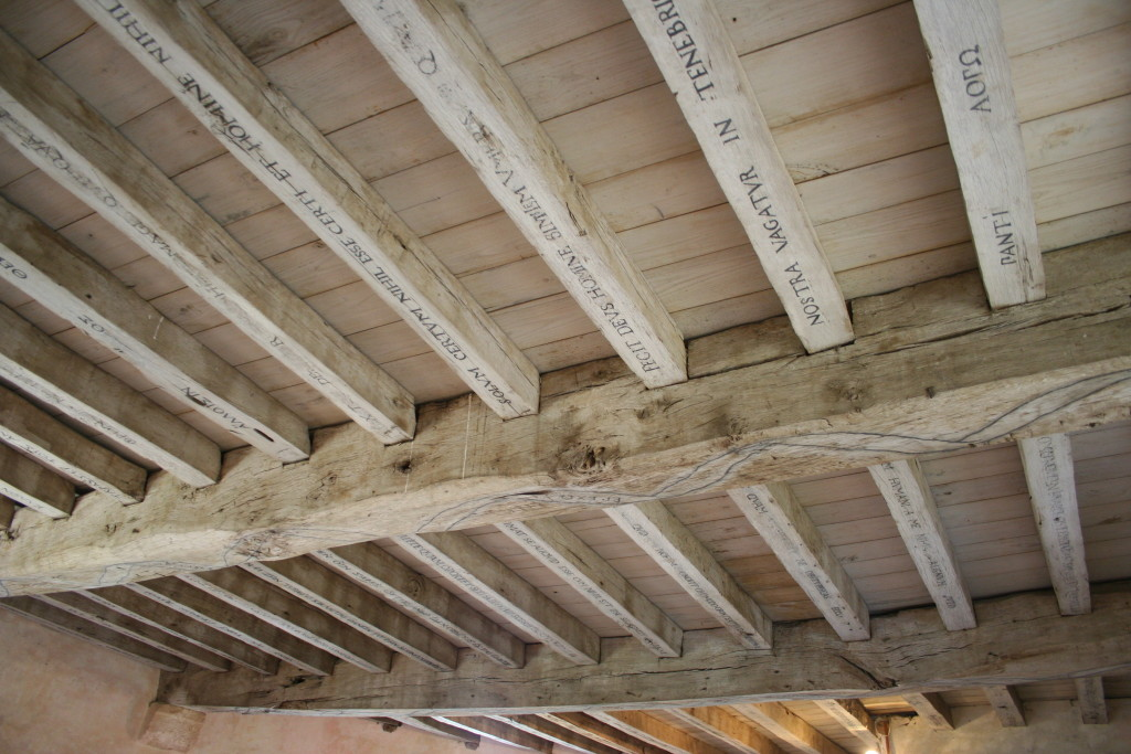 The rafters of Montaigne's libary, where he inscribed his favorite philosophical quotations.