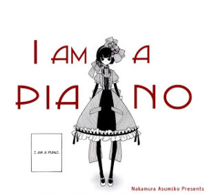 "Girl in a striking black and white dress, speaking the words ""I am a piano"""