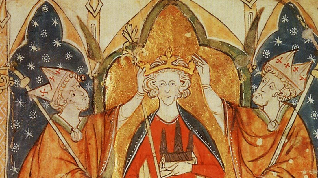 Medieval illumination of a king sitting on a throne with a crown being placed on his head by two robed bishops.